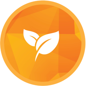Circle icon with two leaves to symbolize environmentally friendly